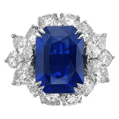 10.73 Carat Royal Blue Sapphire and Diamond Cocktail Ring