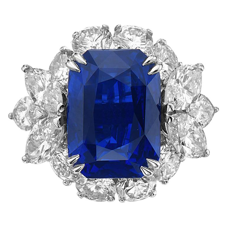 10.73 Carat Royal Blue Sapphire and Diamond Cocktail Ring For Sale