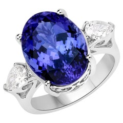 10.74 Carat Genuine Tanzanite and White Diamond 18 Karat White Gold Ring