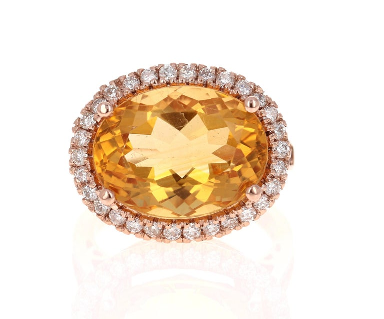 Modern 10.74 Carat Oval Cut Citrine Diamond 14 Karat Rose Gold Engagement Ring For Sale