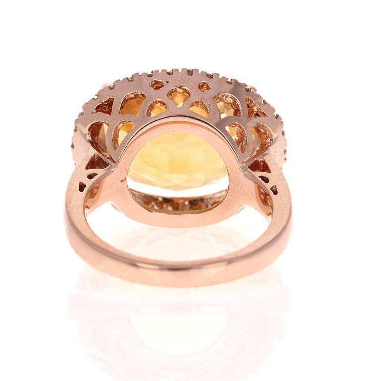 10.74 Carat Oval Cut Citrine Diamond 14 Karat Rose Gold Engagement Ring In New Condition For Sale In San Dimas, CA