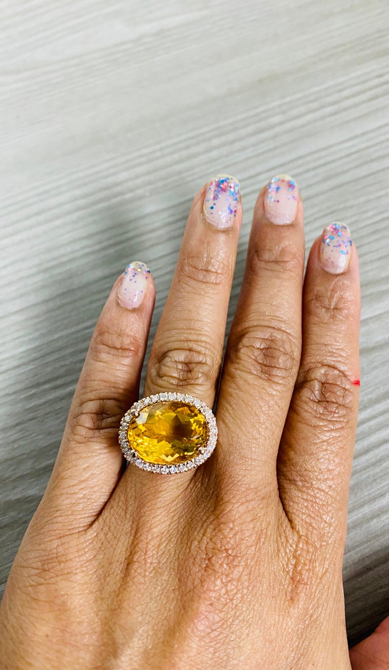 Women's 10.74 Carat Oval Cut Citrine Diamond 14 Karat Rose Gold Engagement Ring For Sale