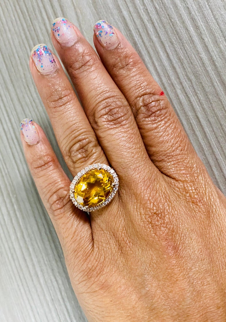10.74 Carat Oval Cut Citrine Diamond 14 Karat Rose Gold Engagement Ring For Sale 1