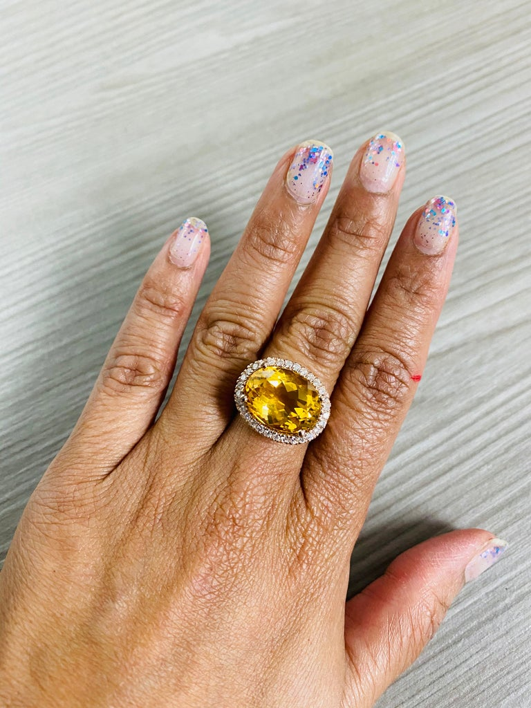 10.74 Carat Oval Cut Citrine Diamond 14 Karat Rose Gold Engagement Ring For Sale 2