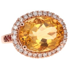 10.74 Carat Oval Cut Citrine Diamond 14 Karat Rose Gold Engagement Ring
