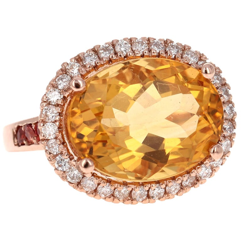 10.74 Carat Oval Cut Citrine Diamond 14 Karat Rose Gold Engagement Ring For Sale