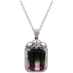 10.75 Carat Emerald Cut Watermelon Tourmaline and Diamond Pendant