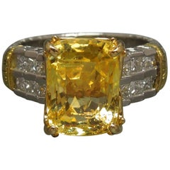 10.75 Carat GIA Yellow Sapphire Platinum and 18 Karat Ring