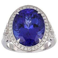 10.75 Carat Oval Tanzanite Ring with Diamonds 18 Karat White Gold