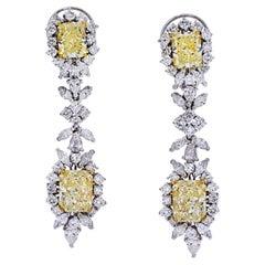 10.75 Carat Radiant-Cut VVS1 Yellow Diamond and Fancy-Shape Diamond 18K Earrings