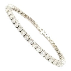 10.75 Carat Round Brilliant Cut Diamond Tennis Bracelet 14 Karat White Gold