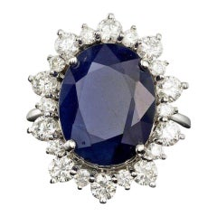10.75ct Natural Blue Sapphire & Diamond 14k Solid White Gold Ring