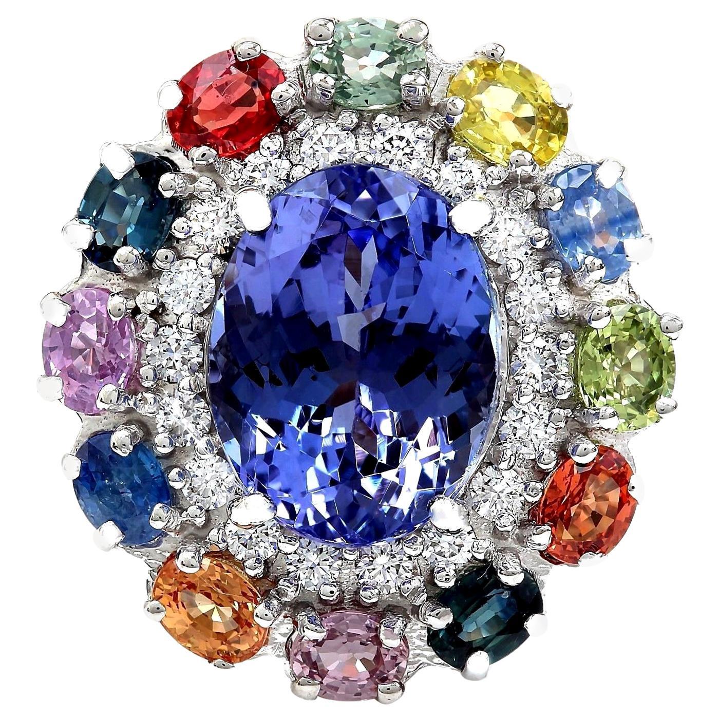 10.76 Carat Natural Tanzanite, Sapphire 18 Karat Solid White Gold Diamond Ring