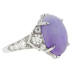 GIA 10.76 Carat Oval Cabochon Burmese Lavender Jadeite and Diamond Plat Ring