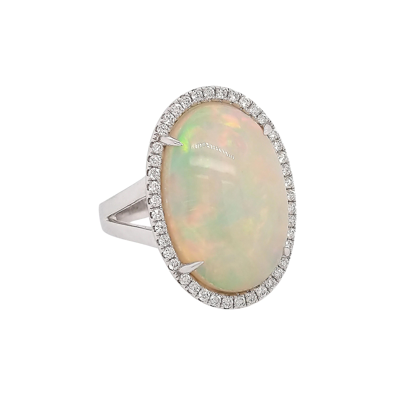 10.77 Carat Opal and Diamond Fashion Ring