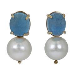 10.78 Carat Aquamarine and Freshwater Pearl Drop 14 Karat Gold Stud Earrings