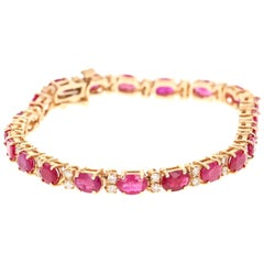10.78 Carat Natural Ruby Diamond 14 Karat Yellow Gold Bracelet