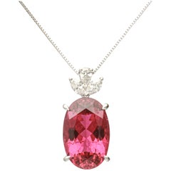 10.78 Carat Rubellite 18 Karat White Gold Pendant Necklace