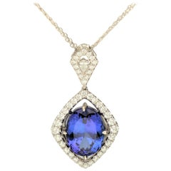 10.78 Carat Tanzanite and Diamond 18 Karat White Gold Pendant Necklace