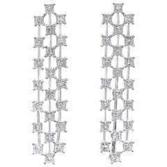 10.79 Carat Princess Cut Diamond Three-Row Waterfall Drop Earrings
