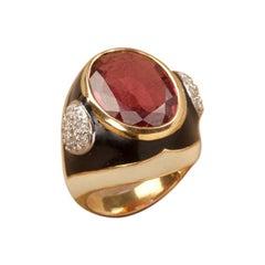 10.79 Carat Rubellite Black Enamel and Diamond 18kt Yellow Gold Signet Ring