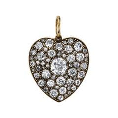 Handcrafted Cobblestone Cushion Cut Diamond Heart Pendant by Single Stone