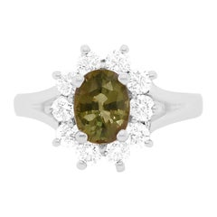 1.08 Carat Natural Alexandrite and Diamond Ring