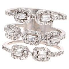 1.08 Carat Baguette Round Cut Diamond 18 Karat White Gold Cocktail Ring