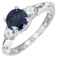 1.08 Carat Blue Sapphire Diamond 14 Karat White Gold Three-Stone Ring