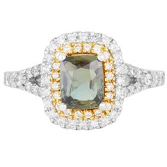 GIC Certified Alexandrite Color Change Natural Diamond Ring 18K Two Tone Gold
