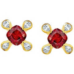 1.08 Carat Cushion Red Ruby and Diamond 18k Yellow Gold Earrings