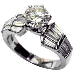 1.08 Carat Diamond Solitaire in Platinum with Baguette Shoulders