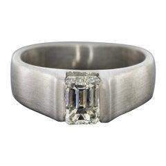 1.08 Carat Emerald Diamond Solitaire Engagement Ring