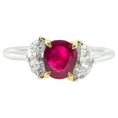 1.08 Carat GIA Certified Burma No Heat Pigeon's Blood Red Ruby and Diamond Ring
