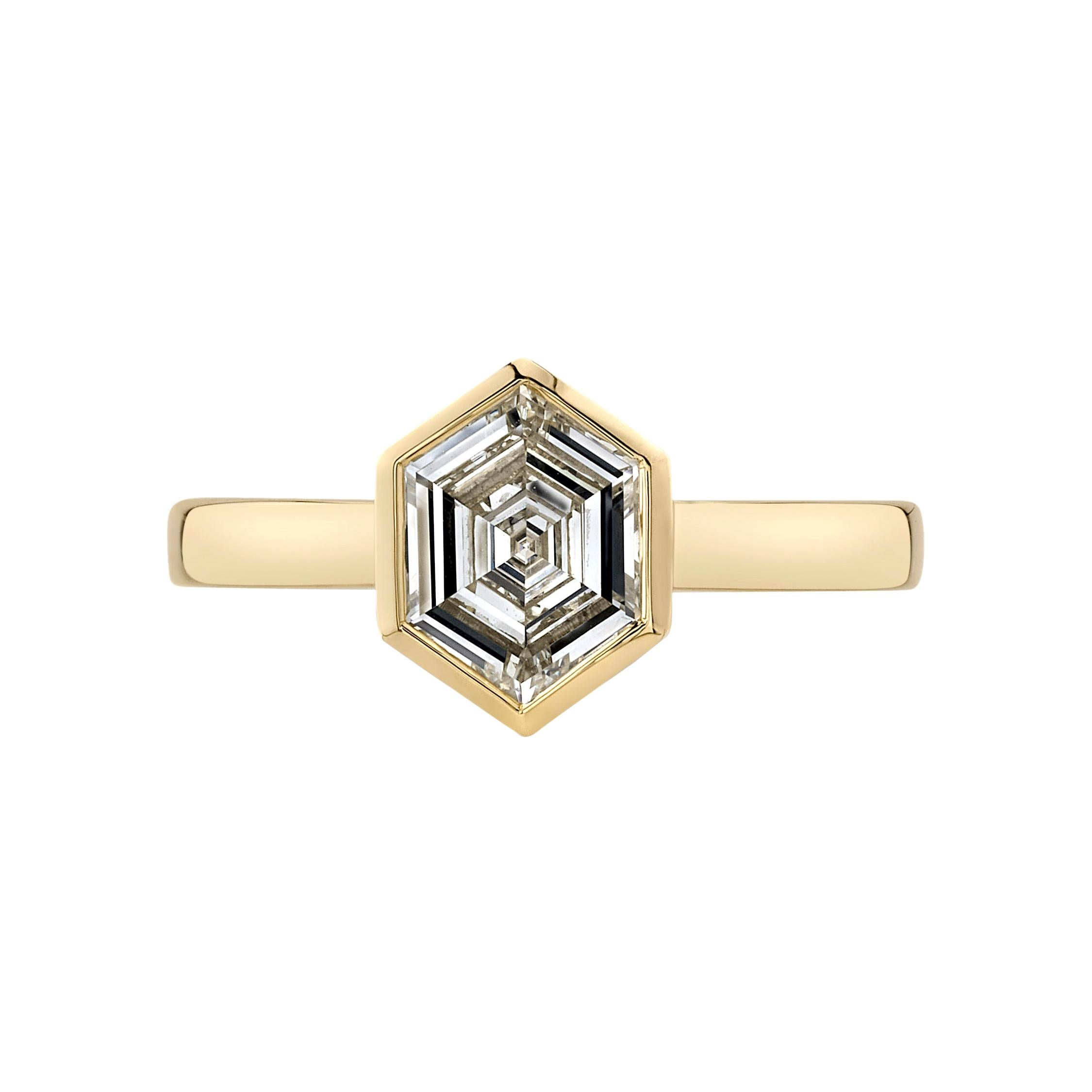1.08 Carat Hexagonal Step Cut Diamond Set in a Yellow Gold Engagement Ring