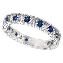 1.08 Carat Natural Diamond and Sapphire Eternity Band 14 Karat White Gold