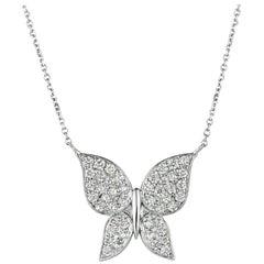 1.08 Carat Natural Diamond Butterfly Necklace 14 Karat White Gold G SI