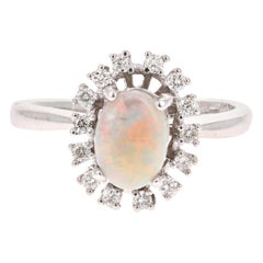 1.08 Carat Opal Diamond 18 Karat White Gold Ring