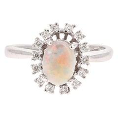 1.08 Carat Opal Diamond 18 Karat White Gold Ring
