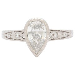 1.08 Carat Pear Shape Diamond Platinum Ring