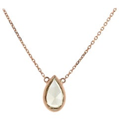 1.08 Carat Pear Shape Fancy Brownish Yellow GIA Diamond Necklace