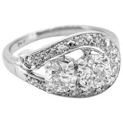 1.08 Carat T.W. Diamond Vintage Engagement or Fashion White Gold Ring
