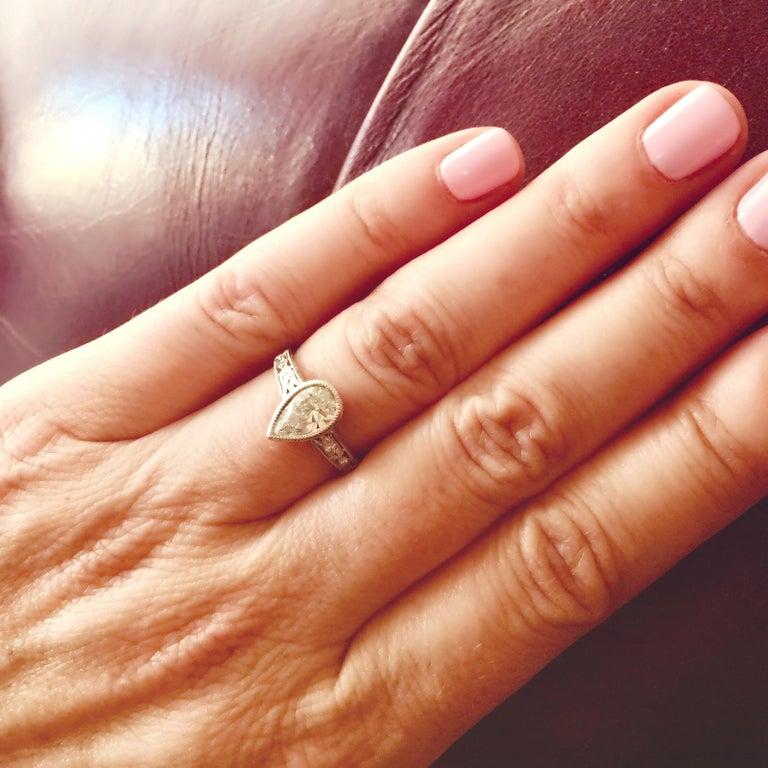 Pear Cut 1.08 Carat Pear Shape Diamond Platinum Ring For Sale