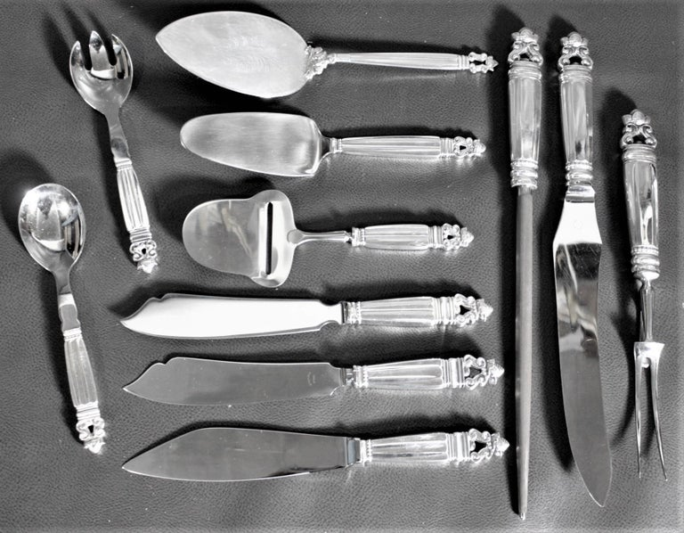Art Deco 108 Piece Georg Jensen 'Acorn' Sterling Silver Flatware Set with Many Extras For Sale