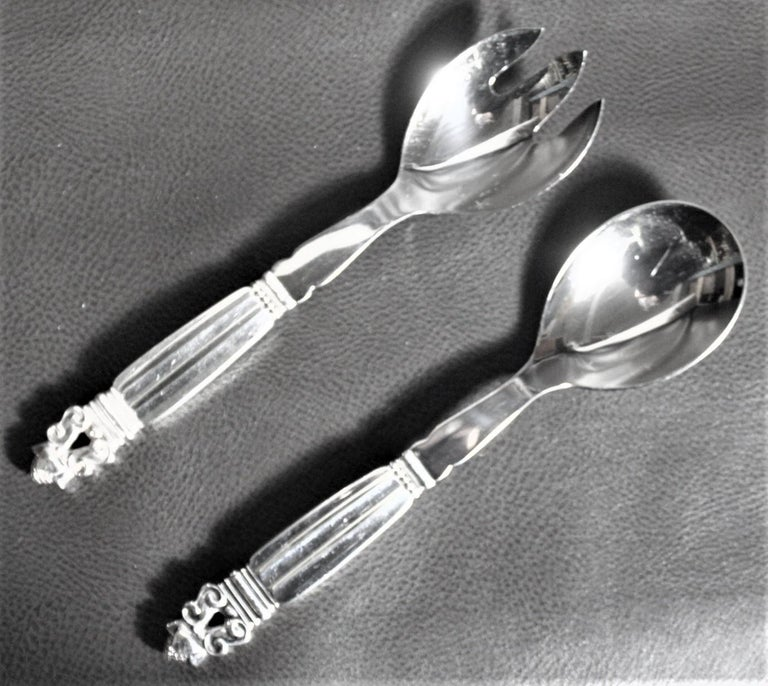 Cast 108 Piece Georg Jensen 'Acorn' Sterling Silver Flatware Set with Many Extras For Sale