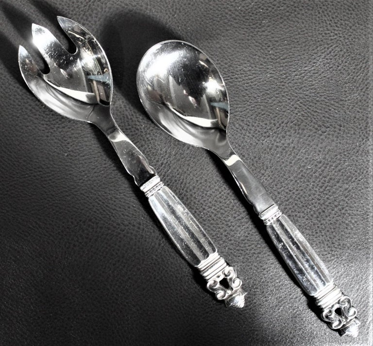 108 Piece Georg Jensen 'Acorn' Sterling Silver Flatware Set with Many Extras In Good Condition For Sale In Hamilton, Ontario