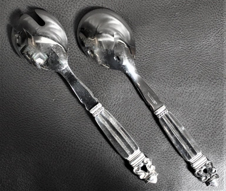 20th Century 108 Piece Georg Jensen 'Acorn' Sterling Silver Flatware Set with Many Extras For Sale
