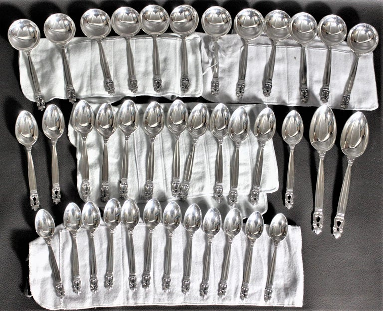 108 Piece Georg Jensen 'Acorn' Sterling Silver Flatware Set with Many Extras For Sale 1