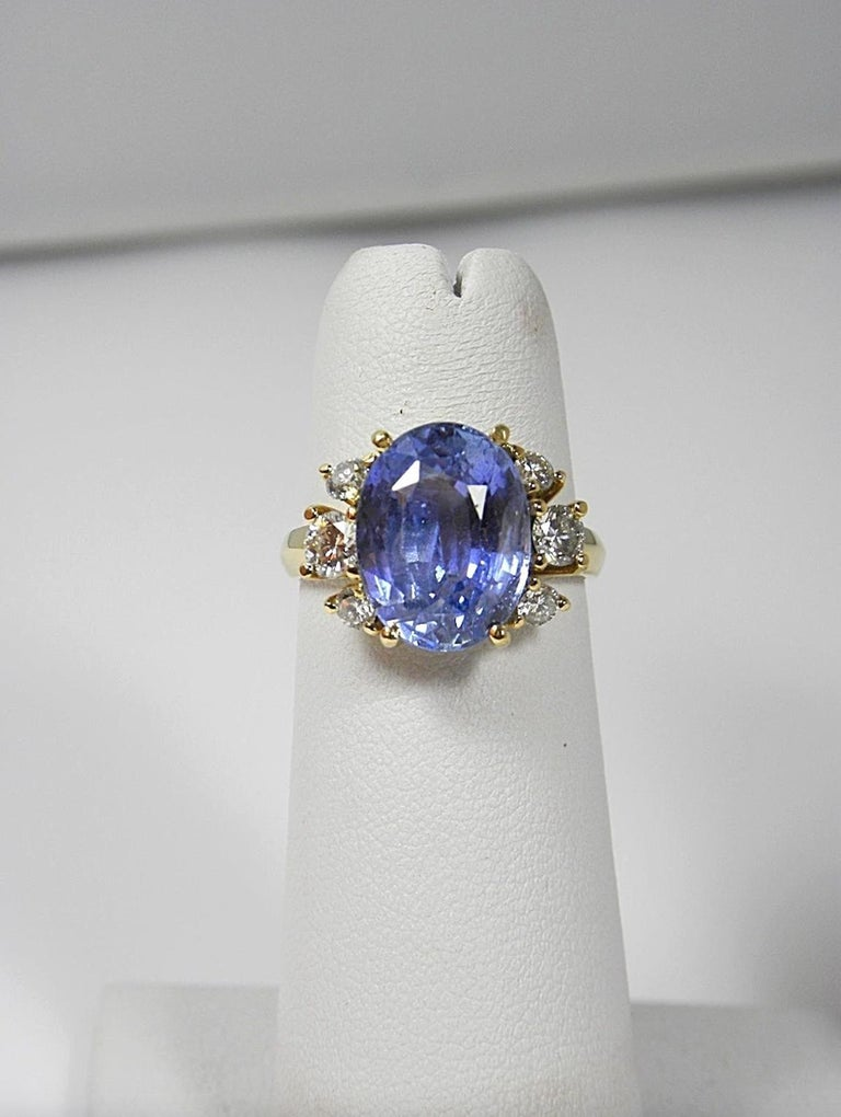 10.80 Carat Certified Untreated Blue Sapphire Diamond Ring 18K  For Sale 1