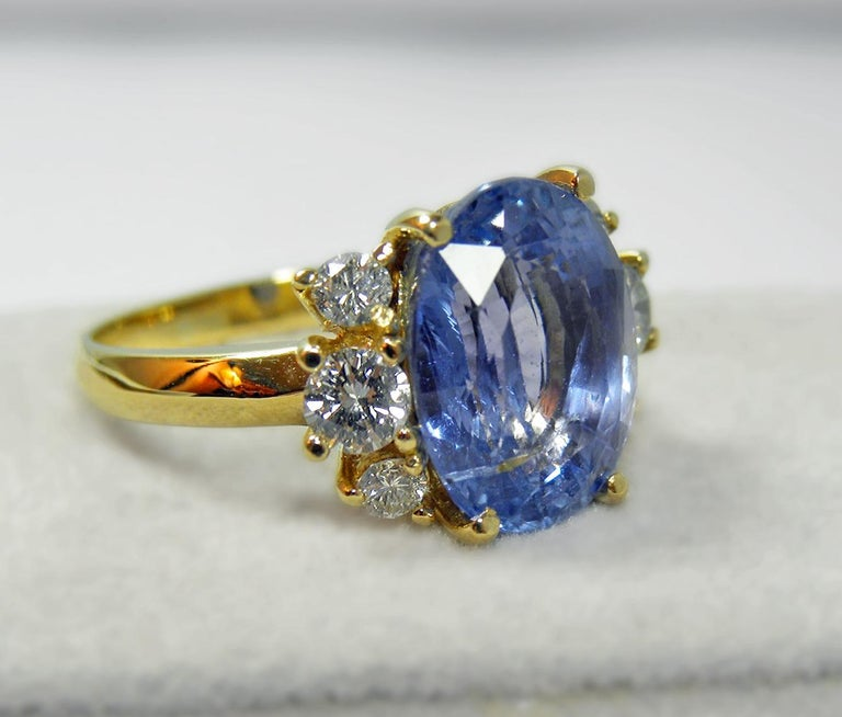 10.80 Carat Certified Untreated Blue Sapphire Diamond Ring 18K  In New Condition For Sale In Brunswick, ME